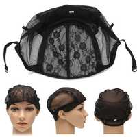 Wig Lace Elastic Wig Cap Hairnets Polyester Stretch Snood Liner Mesh Adjustable Straps