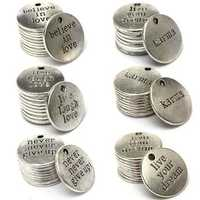 10Pcs RounD-shape Carve Words Pendants DIY Jewelry Accessories