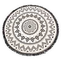 150CM Bohemia Black White Round Hippie Tapestry Throw Mandala Towel Yoga Mat Shawl Beach Gowns