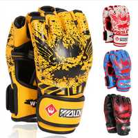 Men Male PU Leather Training Grappling UFC Boxing Fight Punch Mittens MMA Sanda Gloves