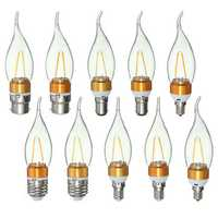 E27 E14 E12 B22 B15 2W 2LEDS LED Plastic&Aluminum Pure White Warm White Filament Light Bulb AC110V
