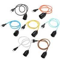 E27 Fabric Cable Pendant Lamp Vintage Industrial Filament Light Bulb Holder Base 110V-240V