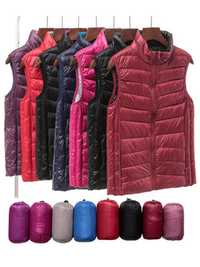 Casual Solid Color Vest Sleeveless Stand Collar Women Light Down Coats