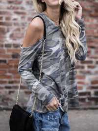 S-5XL Fashion Women Off Should Camoufla Shirts