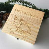 Wooden Christmas Eve Gift Box Engraved Wood Box Chocolate Packaging Party Home Decorations