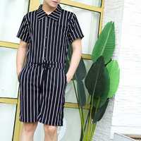 Men Vintage Striped Rompers Set Short Sleeve Onesie Jumpsuit