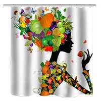 Waterproof Fruit Girl Shower Curtain Set Kit with Bath Mat Decor Home Bathroom Carpet