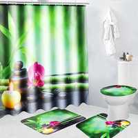 4Pcs 180x180cm Bamboo Pebbles Bathroom Shower Curtain with Hooks Toliet Cover Mat