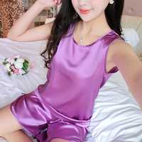 Sexy Ice Silk Sleeveless Soft Sleepwear Set Elegant Pajamas For Women