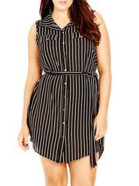 M-5XL Sleeveless Stripe Turn-down Collar Tops Mini Dress
