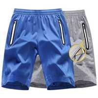 Mens Summer Sweat Absorption Basketball Sport Gym Zipper Breathable Running Shorts