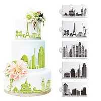 5Pcs/Set Plastic Civic Architecture Stencils Fondant Cake Mold Cookie Baking Mould Decorating Tool