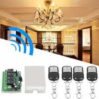 DC12V 4 Transmitter & Receiver Relay 4CH 433MHz Wireless Remote Control Light Switch