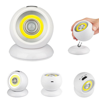 Battery Powered / USB Rechargeable 360 Degree Rotation COB PIR Motion Sensor Night Light Magnetic