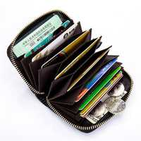RFID Genuine Leather Card Holder Zipper Short Purse Wallets Coin Bags