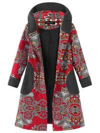 Printed Patwchwork Hooded Coat