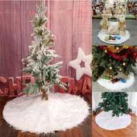 90cm Snow Plush Christmas Tree Skirt Base Floor Mat Cover Christmas Party Decorations