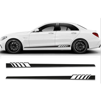 2Pcs 220x11.5cm Long Stripe Graphics Car Stickers Off-Road Side Body Vinyl Decals Black/White/Blue