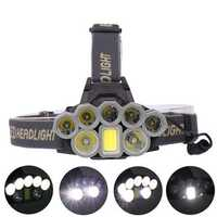XANES 4108 3000LM 2*T6 5*XPE LED+COB 6 Modes Bicycle Camping Headlamp 2*18650 Battery USB Rechargeable