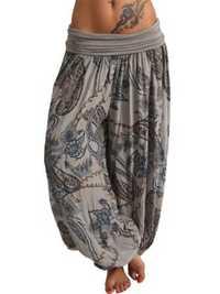 Women Loose Floral Print High Waist Wide Leg Pants