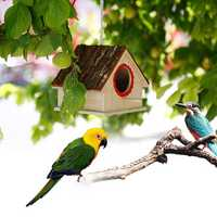 Creative Bird Nest Simulated Bark House Shape Bird Breeding Box Pet Toys