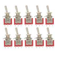 10pcs Red Toggle Switch DPDT On-Off-On 6 PINs 3 Position 5A 120Vac /2A 250Vac