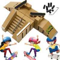 Skate Park Ramp Parts With 2 Deck Fingerboard Finger Board Toys