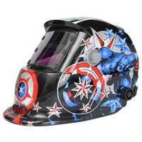 Solar Welder Mask Helmet Electric Welding Auto Darkening Welding Helmet Captain America Pattern