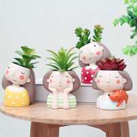 ROOGO Creative Models Artificial Flowers Resin Cartoon Succulents Flower Pot Micro Landscape Combination Home Decoration