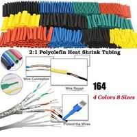 164Pcs Polyolefin Shrinking Assorted Heat Shrink Tube Wire Cable Insulated Sleeving Tubing Set