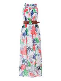 Printed Boho Chiffon Sleeveless Maxi Dresses With Belt