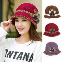 Women Ladies Knitting Crochet Faux Rabbit Fur Beanie Hat Beret Knitted Ski Cap