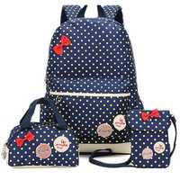 3 Pcs Children School Bags Dots Shoulder Backpack Camping Travel Handbag Nylon Cross Body Bag