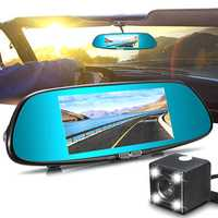 7 Inch 1080P Dual Lens Car Dash Cam DVR Rear View Mirror Video Camera Recorder