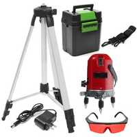 Red 5 Line 6 Point Laser Level 360° Rotary Self Leveling Laser Level with Tripod
