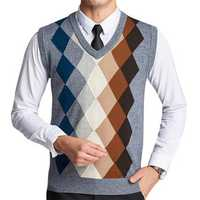 Fashion Plaid Fleece Woolen Pullover Vest Casual Men's V-collar Sleeveless Sweater Vest