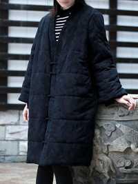 Women Vintage Frog Button Jacquard Winter Thick Long Coats