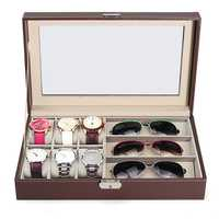 Multi-grid Wood Leather Glasses Box Glass Storage Watch Display Case