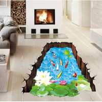 Miico Creative 3D Lotus Pool Goldfish Removable Home Room Decorative Wall Floor Decor Sticker