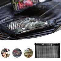 Outdoor Barbecue BBQ Non-Stick Mesh Grilling Bag Mat High Temperature Resistance Camping Picnic