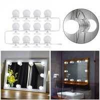 12Pcs Makeup Mirror Vanity LED Light Bulbs LED Gadgets Kit for Dressing Hollywood Super Star