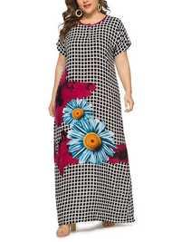 Women Floral Print Plaid O-neck Short Sleeve Maxi Dress