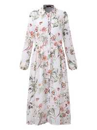 OEUVRE Floral Printed Long Sleeve Chiffon Dress