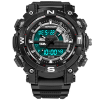 SANDA 743 Fashion Men Dual Display Watch Swimming Diving Sport Watch