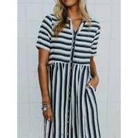 Button Pocket Striped Dress