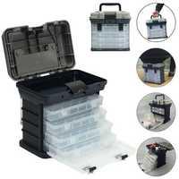 ZANLURE 4- layer Fishing Tackle Box Lures Storage Tray Bait Case Tool Organizer Bulk Drawer