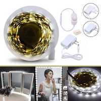 4M SMD2835 Dimmable Non-waterproof White Vanity Mirror LED Strip Lights EU US Plug DC12V