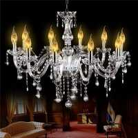 E12 Silver Glass 10 Heads Crystal Chandelier Modern Large Foyer Pendant Light AC110-240V