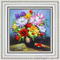 40x50cm 3D Silk Ribbon Flowers of Spring Cross Stitch Kit Embroidery DIY Handwork Home Decoration
