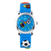 SKMEI 1047 Fashion Soccer Flower Children Quartz Watch Silicone Strap Kids Sport Watch